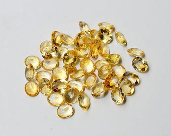 Natural Citrine Gemstone Faceted Oval Shape 4 Pieces Lot Untreated Yellow Citrine Gemstone MM02