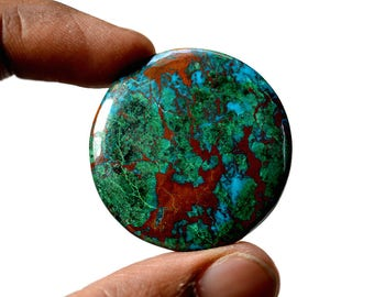 Chrysocolla Large 80 Cts AAA Quality Natural Gemstone Attractive Designer Round Shape Cabochon 37x37x6 MM R14118