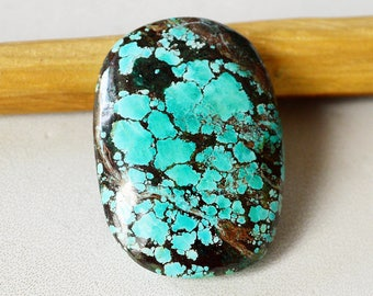 Natural Tibetan Turquoise Gemstone Cabochon 39 Cts Natural Hand Polish Oval Shape 30x21x7 MM R14959