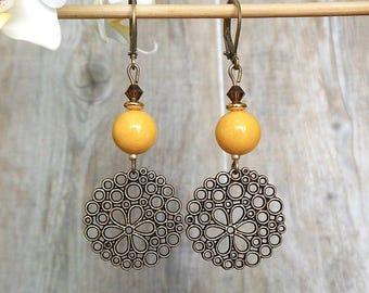 round dangle earrings Orange bronze, Orange, Swarovski Crystal and jade gemstone beads