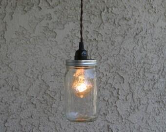 Ball Mason jar quart size pendant light