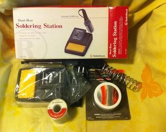Dual heat Soldering Station 20/40 W Radio Shack 64-2184New- 1 lb 60/40 flux, 2 oz rosin soldering flux