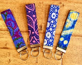 Fabric Keychain, Wristlet Keychain, Key Fob, Key Fob Wristlet, Patterned Key Chain Wristlet, Stocking Stuffer, Teacher Gift, Christmas Gift