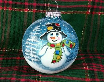 Snowman Ornament, Handpainted Snowman, Hobo Snowman, Snowman with Patches, Blue Glass Ornament,  Snowy Day, Colorful Snowman