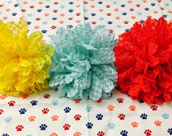 Dog Pet Collar Slide Fabric Flower * 3 Colors*