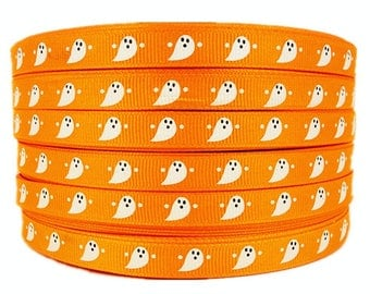"3/8"" 50yards Halloween Ghost Pattern Printed Orange Grosgrains Ribbons"