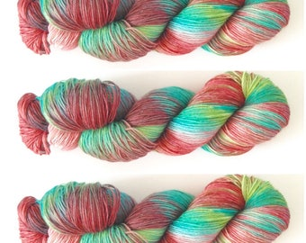 Northern Lights. Hand Dyed Yarn. Hand painted Variegated Sock Yarn. 100g. 4 ply yarn. fingering weight.