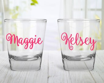 Wedding Party Shot Glass | Bachelorette Shot Glass | Bachelorette Party Shot Glass | Name Shot Glass | Personalized Shot Glass |Custom Color