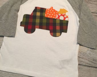 Pumpkin shirt, boys fall shirt, thanksgiving shirt boy, truck with pumpkins