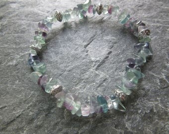 The spirit organization bracelet! Stretch bracelet simple and natural rainbow fluorite chips beads Reiki infused