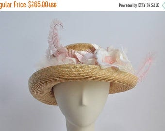 Cloche Straw Sun Hat with Pink Flowers