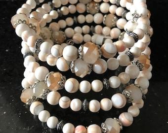 Cream White Bracelet, White Wrap Bracelet, Cream Crystal Bracelets, Ivory Wire Wrap Bracelet, Josefina Handmade Jewelry, Gifts for her,