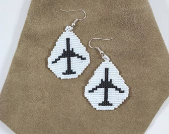 Beaded Airplane Earrings, Airliner Flight Attendant, Pilot Jewelry, Black and White Jet Airliner Earrings