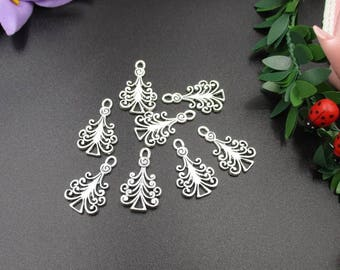 10Pcs 13x22mm Christmas Tree Charms Antique Silver Tone 2 Sided-p1539-B