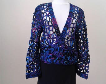 Lace Blouses For Women, Crochet Sweater, Crochet Lace Sweater, Crochet Top, Boho Sweater, Gift for Her, Jackets and Coats, Women's Blazers,