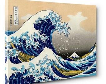 "Hokusai, ""The Great Wave at Kanagawa"" 12"" x 8"" x .75"" Canvas Gallery Wrap Print CLEARANCE"