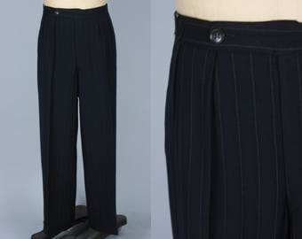 Vintage 1930s Men's Trousers | 30s 40s Black Pin Stripe Pants with Button Fly | Size 33x30