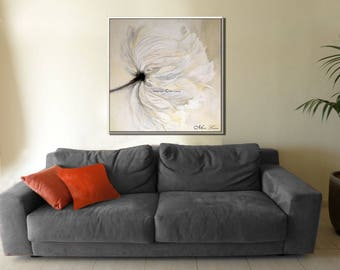 White Flowers, Inspirational Prints from Original Oil Flower Painting White Painting Floral Painting Living Room Décor Gift Art, Miri Lavee