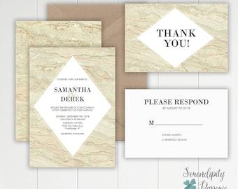 Beige Marble Wedding Invitation / Modern Wedding Invitation / Marble Wedding Invitation / Elegant Marble Invites / Marble wedding suite
