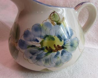 Hand painted in Portugal pitcher With Blue Flowers