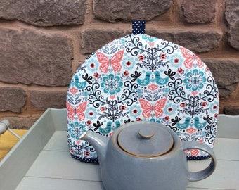 Tea Cosy, tea cozy in pretty folksy fabric teacosy, teacozy, fabric tea cosy, fabric tea cozy, fabric folksy with birds, butterflies flowers