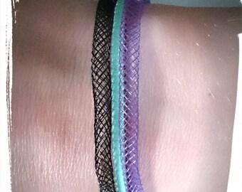 Mesh tubular and suedine _ adjustable bracelet