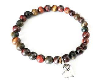 Bracelet Tiger eye and heart