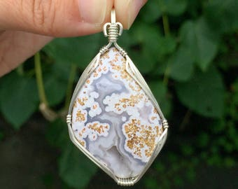 Calico lace agate pendant, Sterling silver, Calico agate jewelry, Mexican agate necklace, Calico agate cabochon