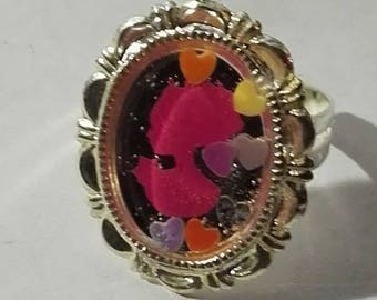 ring cameo rose and star multicolor