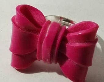 fimo rose double knot ring