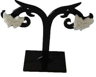 loop white acrylic butterfly earrings