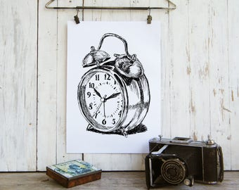 Alarm Clock Printable, Clock Poster, Bedroom Decor, Antique Style Art, DIY Home Decor, Instant Download, Pen And Ink, Housewarming Gift