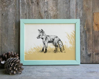 Fox Illustration, Fox Printable Art, Woodland Animals, Wild Life Wall Decor, Nature Art Print, Art & collectibles, Teen Room Decor