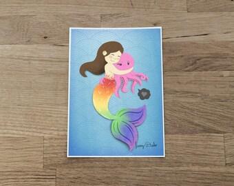 Mermaid hugs Print 5x7, mermaid print, nursery art, cute print, ocean print