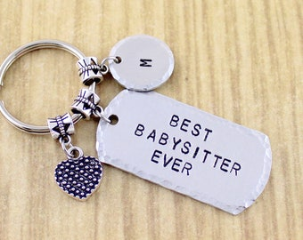 Personalized Hand Stamped Baby Sitter Keychain | Babysitter Keychain | Gifts For Babysitter | Baby Sitter Gifts Under 25 Dollars SRA028348-0