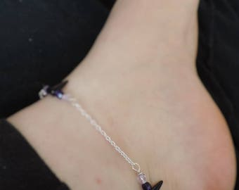 """Purple Spike"" ankle bracelet"
