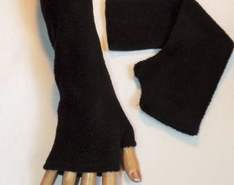 Long black fleece mittens with thumb Sanlivine