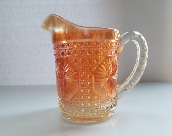 Vintage Marigold Carnival Glass Milk Pitcher