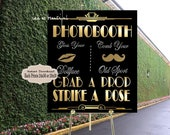 PRINTABLE Photobooth sign*Gatsby party decoration* , 24x36 Roaring 20s Art deco*Wedding photobooth sign*Grab a prop and Str