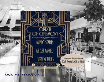 Navy Blue and Gold Order of Ceremony Roaring twenties party decoration. Great Gatsby party decor. Art deco poster. Gatsby wedding decor.