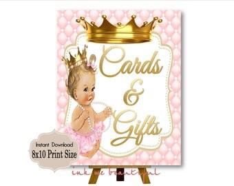 PRINTABLE Princess Baby Shower Gift Table Sign Prints 16X20 8X10, Royal Baby Shower Decor, Royal Collection
