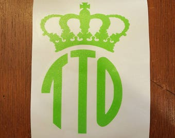 Crown Monogram Decal, Glitter Crown Monogram Decal, Monogram Crown Decal, Monogrammed Decal, Crown Decal, Glitter Decal