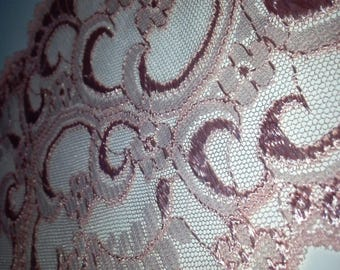 """7"""" Wide Salmon Pink Floral Lace by yard"""