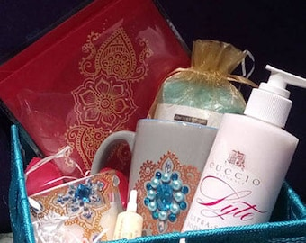 Blue care gift set for Valentine's day, mother's day, birthday beauty...