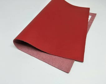 """Leather Scrap, Genuine Leather, Leather Pieces, Red, Size 8.25"""" by 11.5""""  Leather Scrap for DIY Projects."""