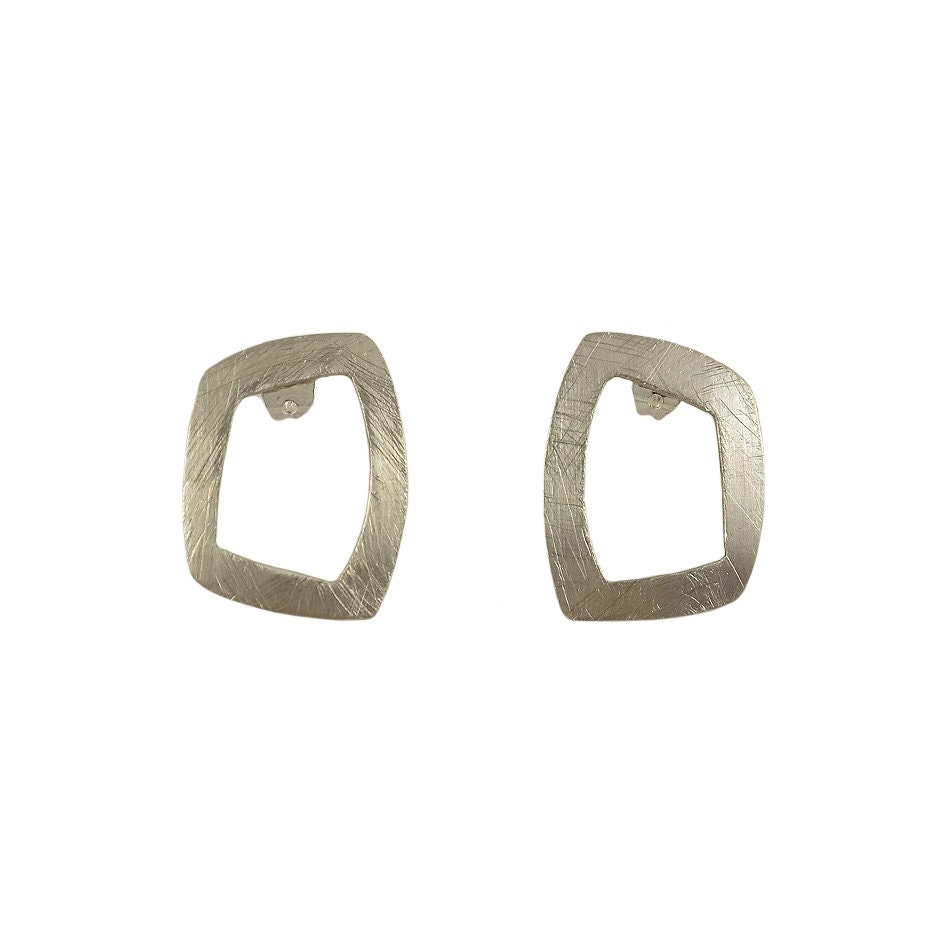 Silver square earrings, 20 mm studs, open rectangle post, simple ...