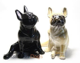 French Bulldog dog ceramic figurine handmade statuette