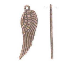 Copper Wing Charm, Double Sided Wing, 28x9mm, 4 Each, D1010