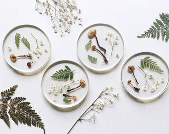 Woodland Resin Coasters with Pressed Ferns, Babies Breath, and Dried Mushrooms // Set of Four // Made to Order