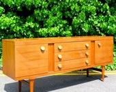 Stylish Vintage Danish style long teak sideboard. Delivery. Modern Midcentury.
